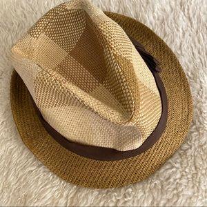 Bebe Tan Checkered Fedora Straw Hat